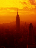 Silhouette of New York City Skyline at Sunset Photographic Print