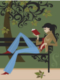 Woman Reading Book on Park Bench Poster