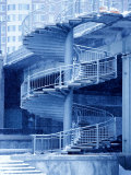Architecture of Bridge with Winding Staircase in Canada Photographic Print