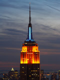 Top of the Empire State Building Illuminated at Night in New York City, New York Photographic Print