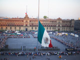 Display of Traditional Mexican Flag in Plaza, Mexico City Photographic Print