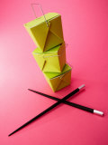 Stack of Chinese Food Takeout Boxes with Chopsticks Photographic Print