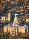 Aerial View of Denver with the Colorado State Capitol Building in Colorado Photographic Print