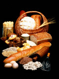 Fresh Bread in Picnic Basket Photographic Print