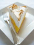 Slice of Lemon Meringue Pie with Plate and Fork Photographic Print