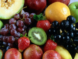 Variety of Fresh Fruits Including Berries with Grapes and Honeydew Photographic Print