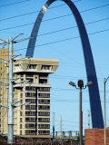 Historical Gateway Arch Towering over Building in St. Louis, Missouri Photographic Print