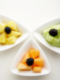 Variety of Fruit Dishes Including Blackberries and Cantaloupe Photographic Print