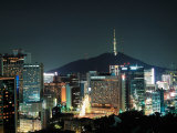 Buildings Illuminated by Lights at Night in Seoul, Korea Photographic Print