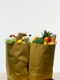Variety of Groceries in Paper Bags Photographic Print
