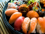 Assortment of Traditional Japanese Sushi on Platter Photographic Print