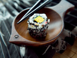 Traditional Japenese Cuisine of Sushi Roll on Dish Photographic Print