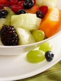 Salad with a Variety of Fruits Including Blackberries, Blueberries and Grapes Photographic Print