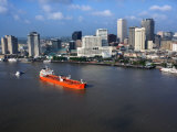 Aerial View of Ship on the Mississippi River by New Orleans Photographic Print