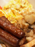 Close-Up of Traditional Breakfast Foods Including Sausage and Eggs Photographic Print