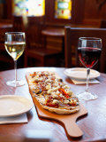 Delicious Italian Pizza and Wine on Table Photographic Print