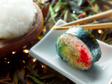 Traditional Japanese Cuisine of Sushi Rolls on Plate with Chopsticks Photographic Print