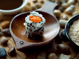 Traditional Sushi Roll in Wooden Dish Photographic Print