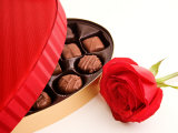Studio Shot of Box of Romantic Chocolates and Red Rose Photographic Print