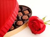Studio Shot of Box of Romantic Chocolates and Red Rose Photographic Print