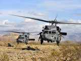 Two HH-60 Pavehawk Helicopters Preparing to Land Fotografie-Druck von Stocktrek Images 