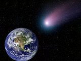 Digital Composite of a Comet Heading Towards Earth Photographic Print by Stocktrek Images