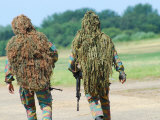 Two Snipers of the Belgian Army Dressed in Ghillie Suits Photographic Print by Stocktrek Images