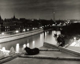 Paris, Cats at Night Art by Robert Doisneau