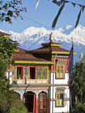 Bhutia Busty Gompa and Kanchenjunga, Darjeeling, West Bengal, India Photographic Print by Jane Sweeney