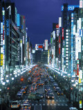 Chuo-Dori Avenue, Ginza, Tokyo, Japan Photographic Print by Walter Bibikow