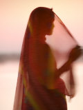 Woman in Traditional Dress, Gadsisar Lake, Jaisalmer, Rajasthan, India Photographic Print by Doug Pearson