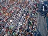 Aerial View of Container Port, Hong Kong, China Photographic Print by Neil Farrin