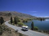 Camper Van on Road by Lake Wanaka, South Island, New Zealand Photographic Print by Neil Farrin