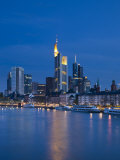 Financial District and Main River, Frankfurt-Am-Main, Hessen, Germany Photographic Print by Walter Bibikow