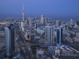 Aerial over Hilalli Street Towards Liberation Tower, Kuwait City, Kuwait Photographic Print by Walter Bibikow
