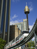 Sydney Tower and Monorail, Central Business District Buildings, Sydney, Australia Photographic Print by Walter Bibikow