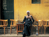 Man Smoking Sheesha, Luxor, Egypt Photographic Print by Peter Adams
