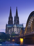 Evening, Cologne Cathedral and Hohenzollern Bridge, Cologne, Rhineland-Westphalia, Germany Photographic Print by Walter Bibikow