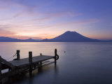 Jetty, Lake Atitlan and Volcano San Pedro, Dawn, Guatemala Photographic Print by Michele Falzone