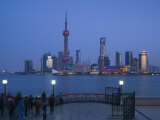 Buildings of Pudong from the Huangpu River, Pudong District, Shanghai, China Photographic Print by Walter Bibikow