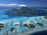 Aerial View over Bora Bora, French Polynesia Photographic Print by Neil Farrin