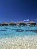 Beach Huts, Moorea, French Polynesia Photographic Print by Neil Farrin