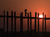 U Bein Bridge, Taugthaman Lake, Amarapura, Mandalay, Myanmar Photographic Print by Jane Sweeney