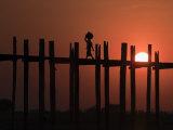 U Bein Bridge, Taugthaman Lake, Amarapura, Mandalay, Myanmar Photographic Print by Jane Sweeney