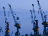 Shipyard Cranes, Hamburg, State of Hamburg, Germany Photographic Print by Walter Bibikow