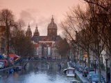 Oudezijds Achterburgwal Canal and Saint Nicholas, Amsterdam, Holland Photographic Print by Michele Falzone