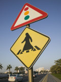 Arabian Pedestrian Crossing Sign, Al-Corniche Street, Doha, Qatar Photographic Print by Walter Bibikow