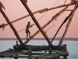 Fishermen and Traditional Fishing Nets, Fort Cochin, Kerala, India Photographic Print by Michele Falzone