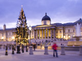 National Portrait Gallery and Trafalgar Square at Christmas, London, England Photographic Print by Jon Arnold