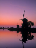 Windmills, Kinderdijk, Zuid, Holland Photographic Print by Walter Bibikow